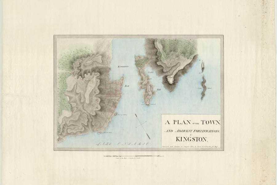 Edward A. Smith, A plan of the town, and adjacent fortifications, of, Kingston, 1816, Library and Archives Canada