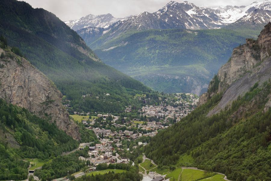The French town of Chamonix as seen from the top of the Vertical Kilometre
