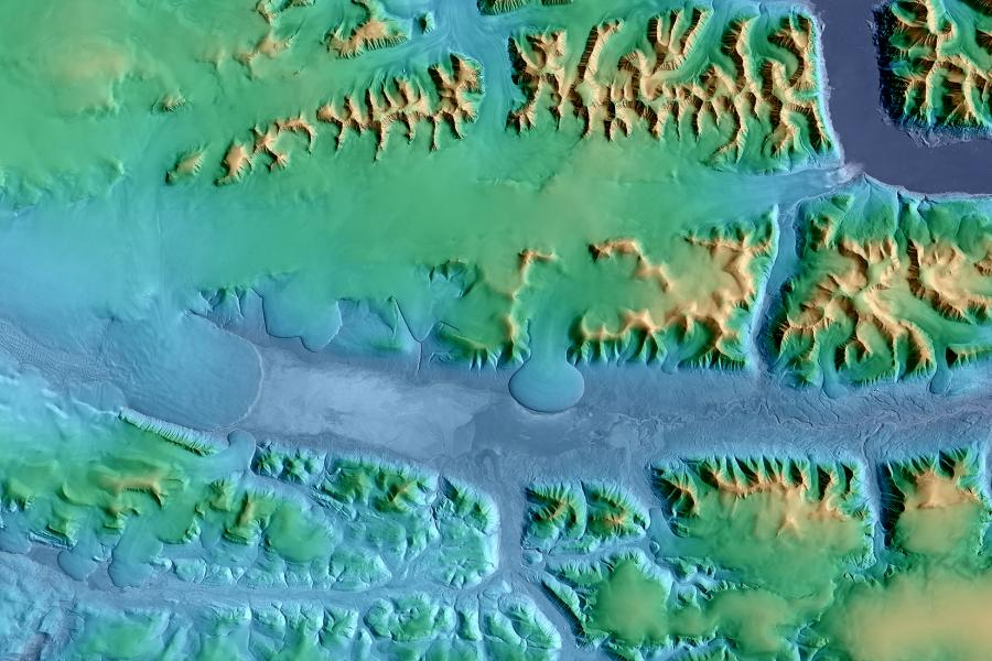 A terrain model of a portion of Northeast Greenland National Park