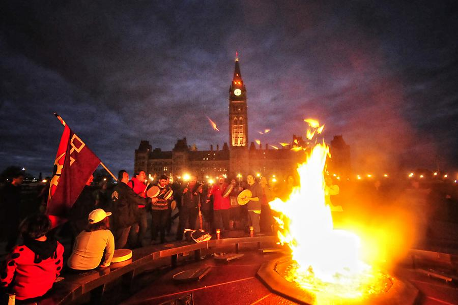 First Nations protest fracking on Parliament Hill