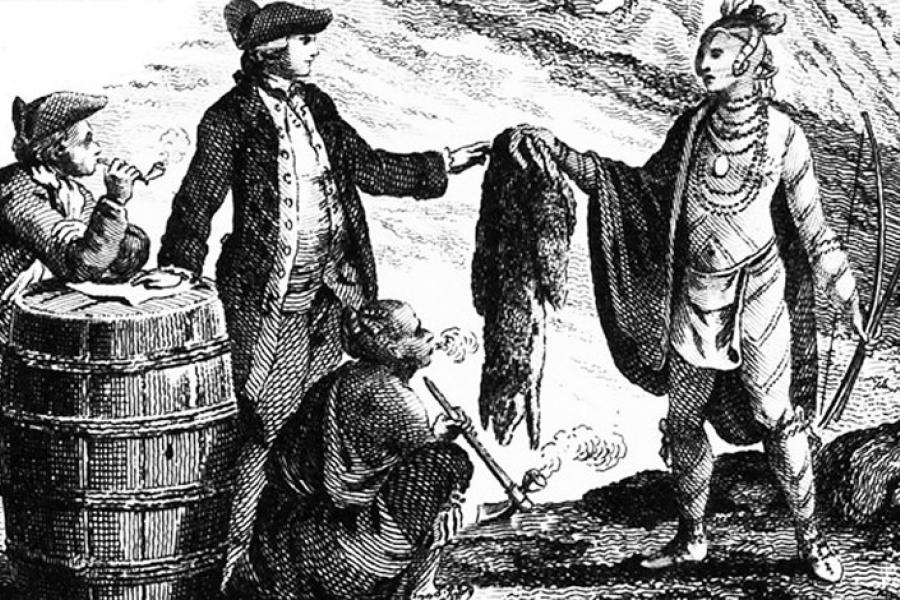 Fur traders in Canada, trading with Indians (1777)