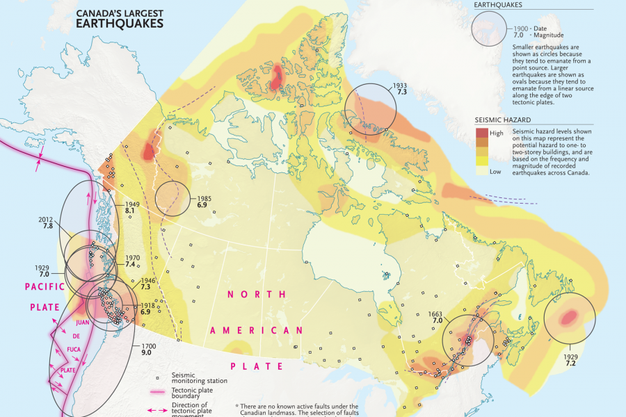 map of Canada's biggest earthquakes
