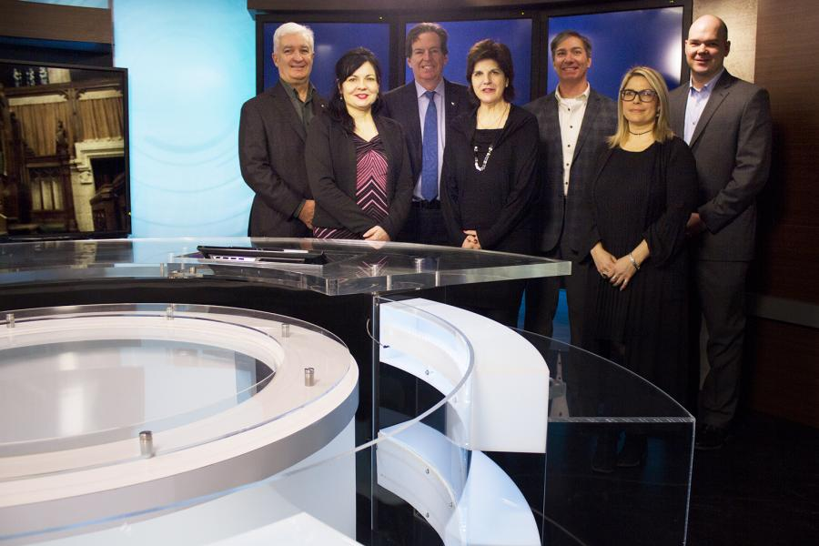 Representatives of CPAC and the RCGS in CPAC's Ottawa studio