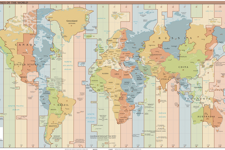 Map of time zones of the world
