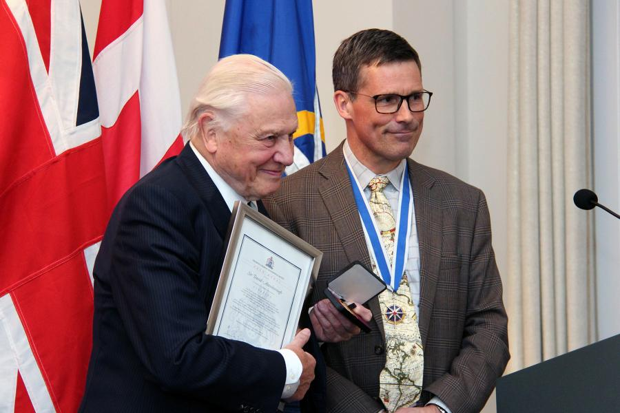David Attenborough with RCGS President Gavin Fitch