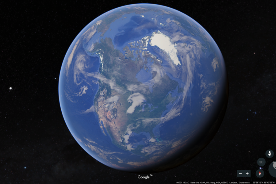 Screenshot of the new Google Earth