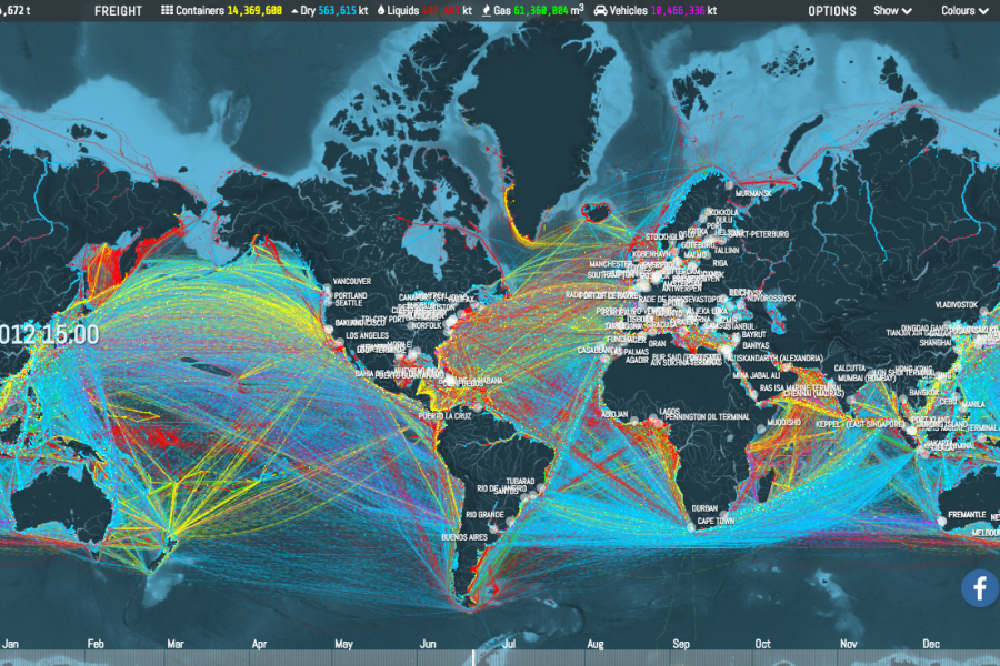 View of world's shipping routes