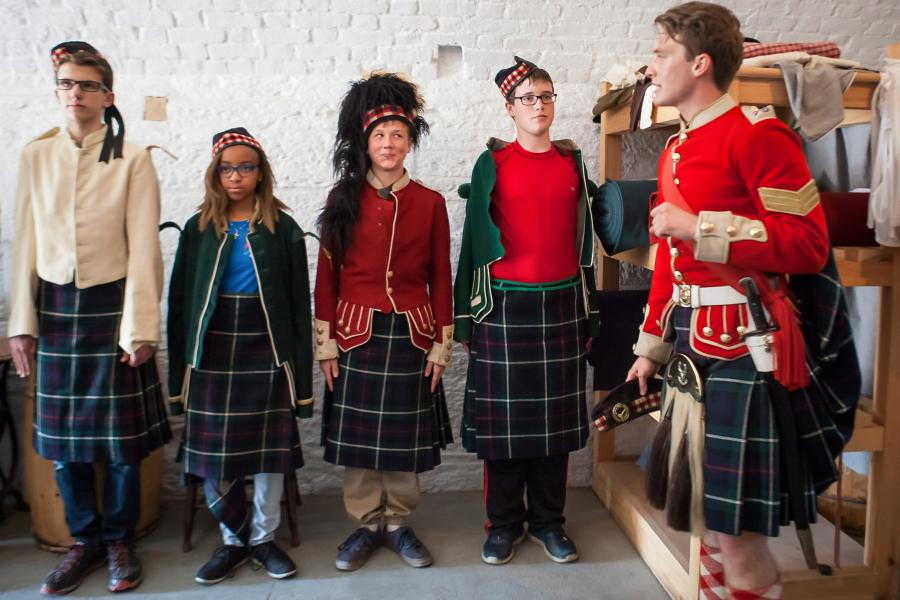 Students dress up in uniform at the Halifax Citadel