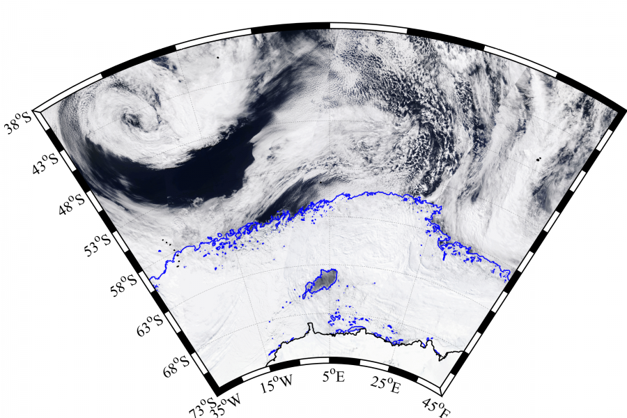 Satellite image of Antarctica Weddell Sea with sea ice and extra-tropical cyclones from September 25, 2017