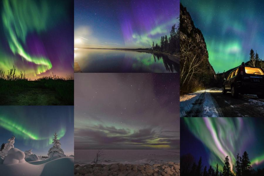 auroras northern lights collage