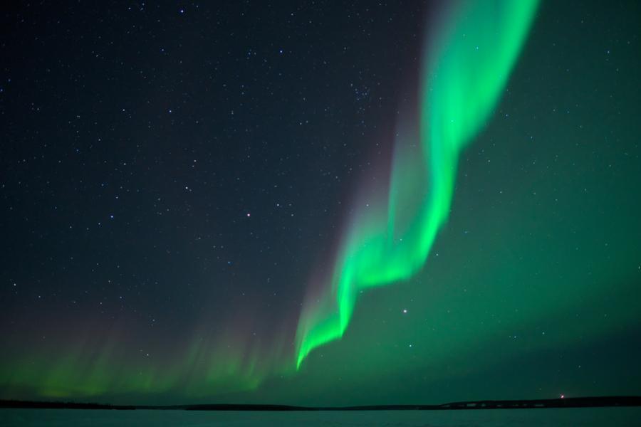 Aurora borealis light up the night over Waterbury Lake in northern Saskatchewan
