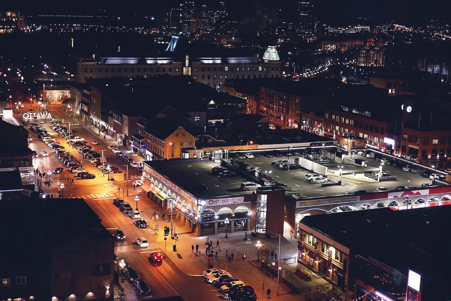 Nighttime view of Ottawa's ByWard Market from the Andaz Ottawa