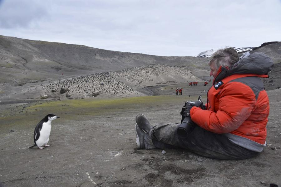Shelley Ball with a chinstrap penguin in Antarctica