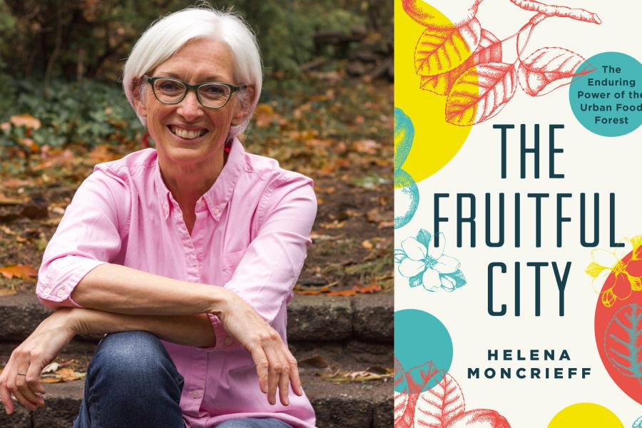 Author Helena Moncrieff and the cover of The Fruitful City