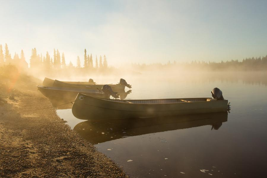 Boats, Rivière Maquatua, Wemindji, eastern James Bay, Eeyou Istchee