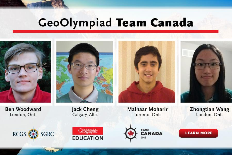 These four young geographers will represent Canada on the world stage at the 2018 iGeo competition in Quebec City