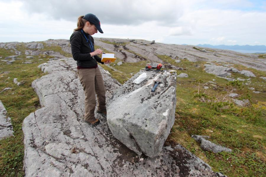 University at Buffalo PhD candidate Alia Lesnek at a sampling site on Suemez Island. Photo: Jason Briner