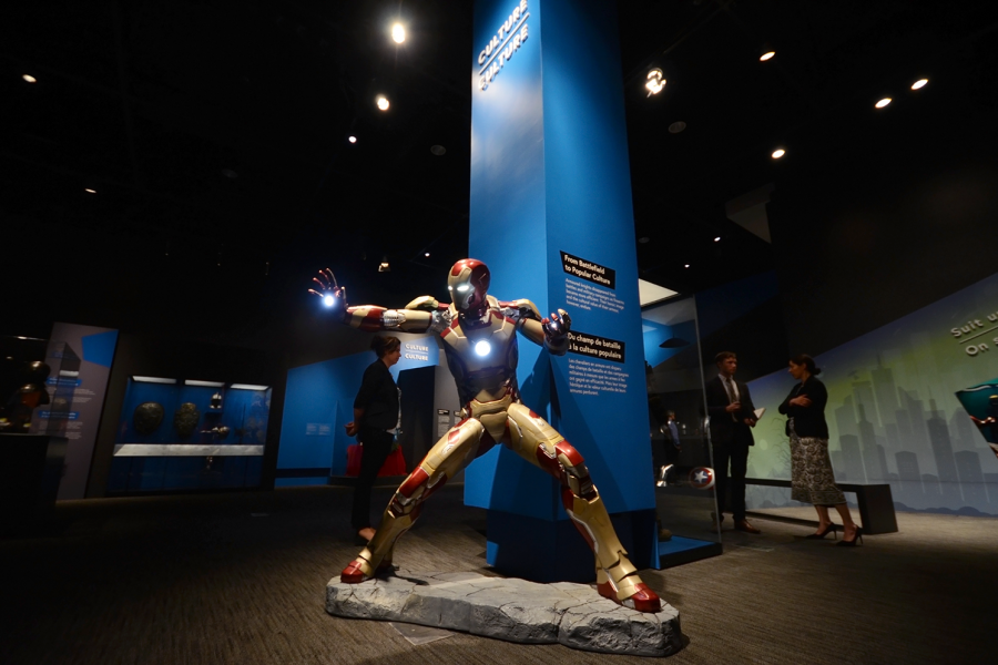 A replica of Iron Man's suit, on display at the Canadian War Museum in Ottawa