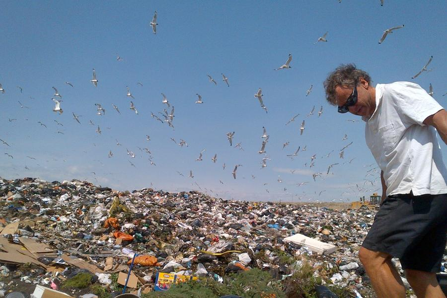 Man walking through landfill with seagulls overhead