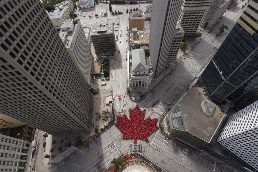 Historic downtown intersection of Portage and Main Saturday July 1, 2017 by the Canadian Press John Woods