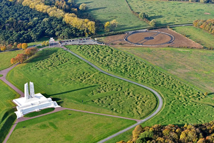 Vimy centennial park aerial view vimy national historic site