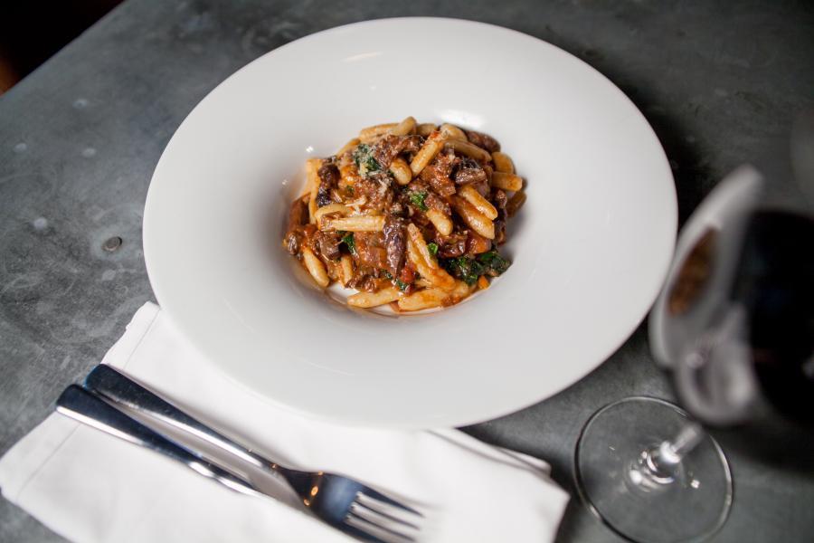 Plate of ricotta cavatelli with venison neck ragu
