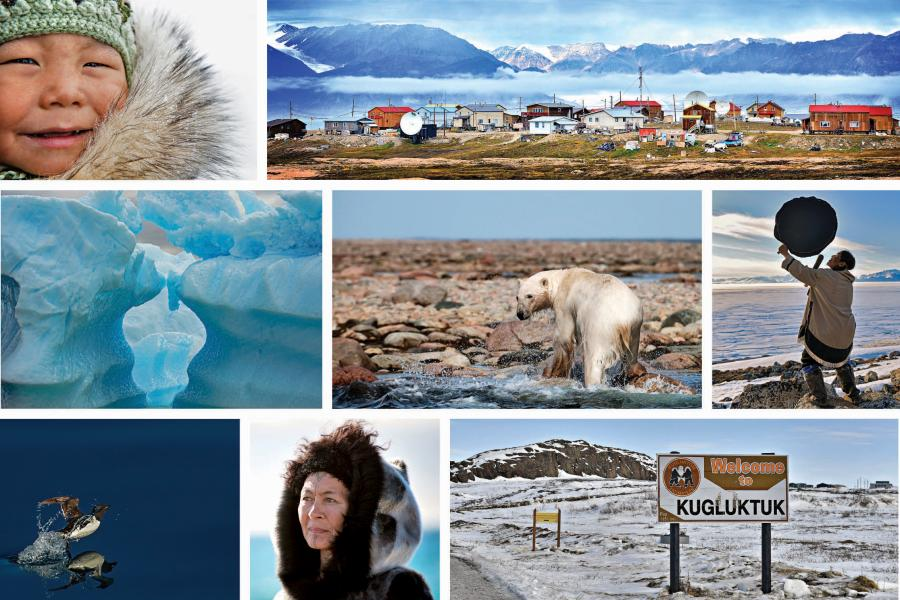 a collage of images of Nunavut, including an Inuit child, Aaju Peter, a polar bear, the community of Pond Inlet, Lamech Kadloo, the community of Kugluktuk, ice