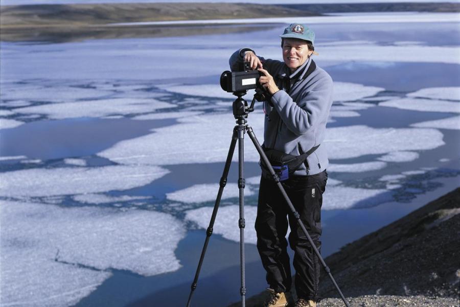 Roberta Bondar with camera on Banks Island