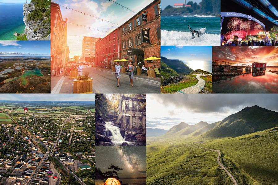 a collage of photos of Canadian places including Cape Breton, Fogo Island, Gatineau Park, Charlottetown, Calgary, Nunavut