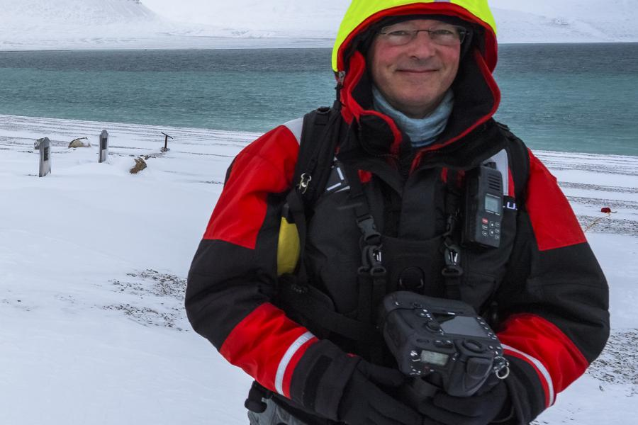 Canadian landscape photographer Scott Forsyth at Beechey Island in the Canadian Arctic