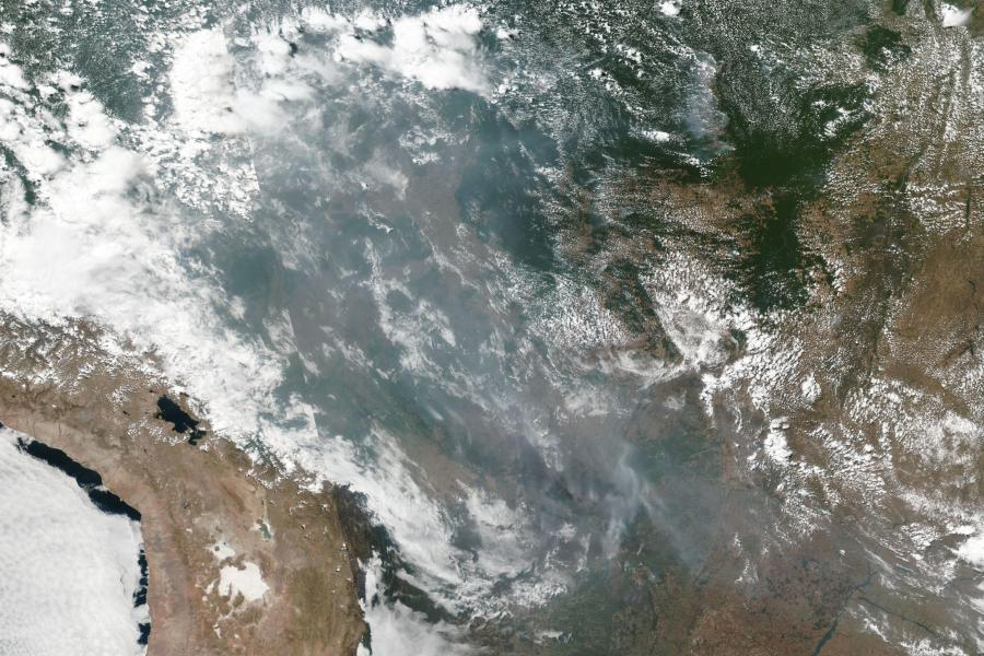 Satellite image showing smoke from Amazon fires blowing over Brazil on August 20, 2019