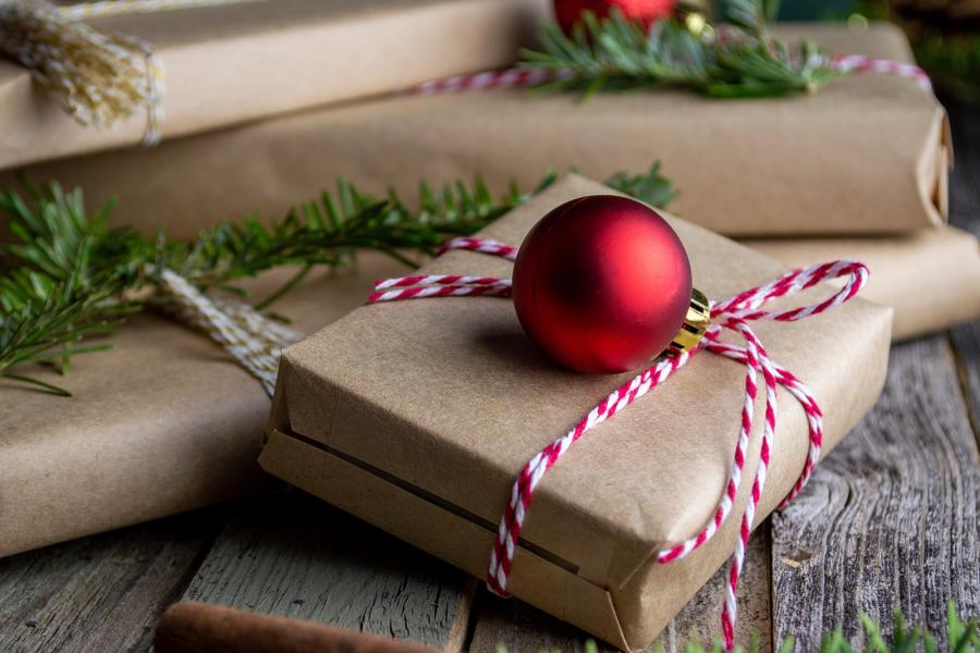 Christmas presents with brown paper wrapping