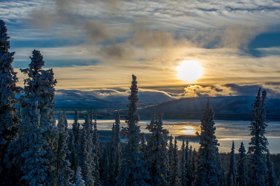 Yukon sunset Aishihik Lake