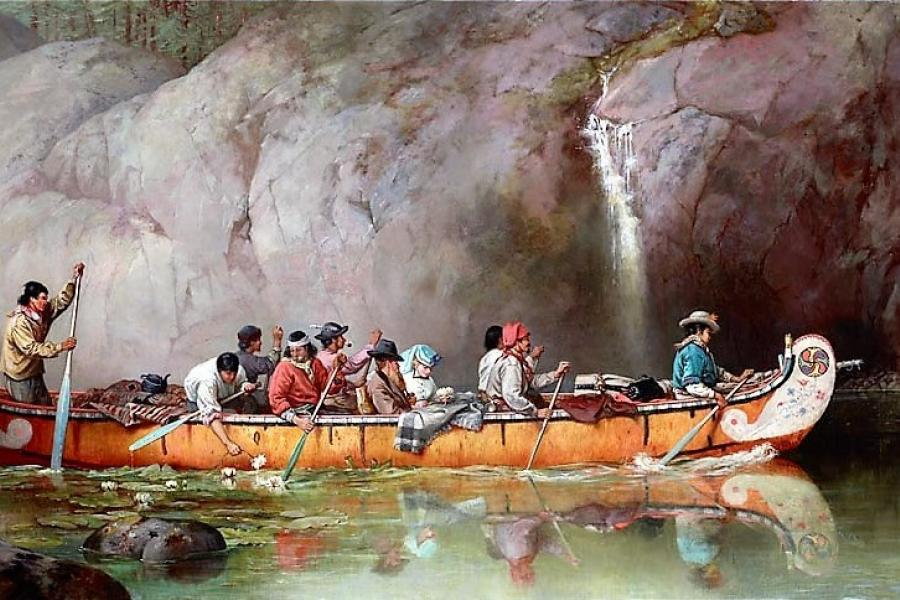 Canoe Manned by Voyageurs Passing a Waterfall by Frances Anne Hopkins