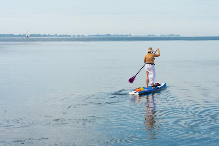 Woman on a stand up paddleboard