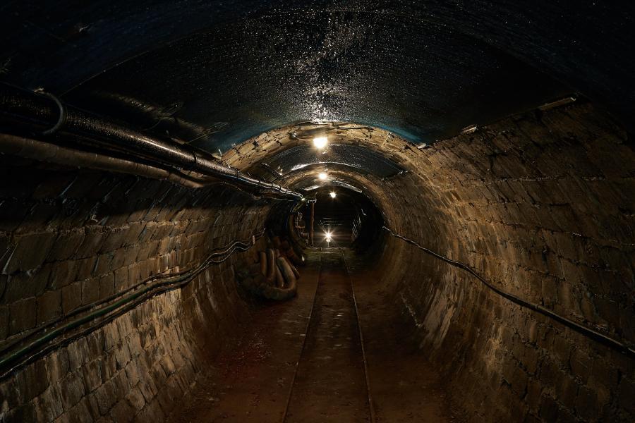 An underground, dark, tunnel