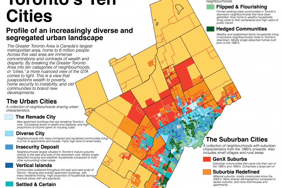A map of Toronto that is colour coded based on certain criteria