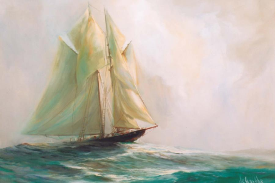 A painted portrait of a ship on the ocean waves