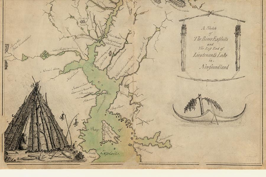 1768 map showing River Exploits flowing into Lieutenant's Lake, showing Beothuk mamateeks, deer fences and scarecrows.