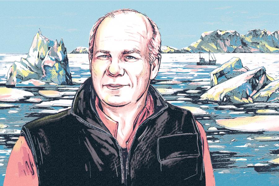 Illustration of Peter Mansbridge and the Northwest Passage
