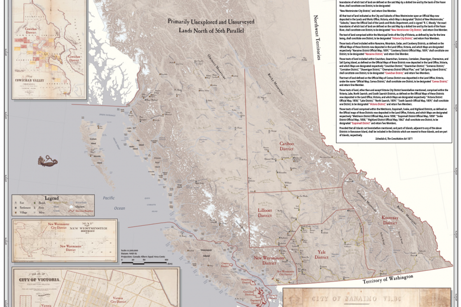 Map of 1871 electoral districts in British Columbia