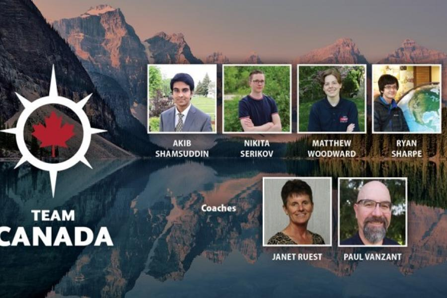 Slide showing photos of the members of the 2021 iGeo Team Canada and their coaches