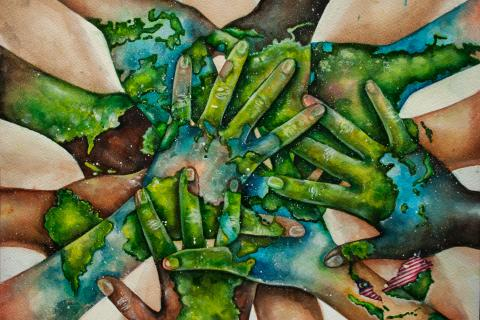 Hands all meeting in centre from all around the world. Skin painted green and blue, pieces of earth.