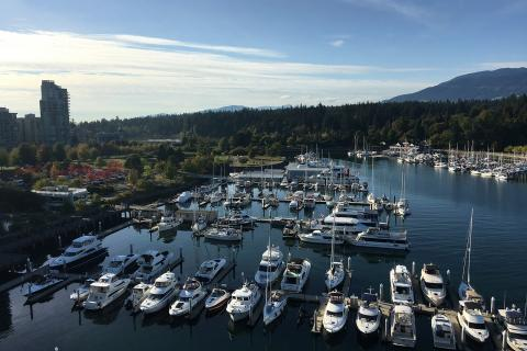 View of Coal Harbour from room at Westin Bayshore Vancouver