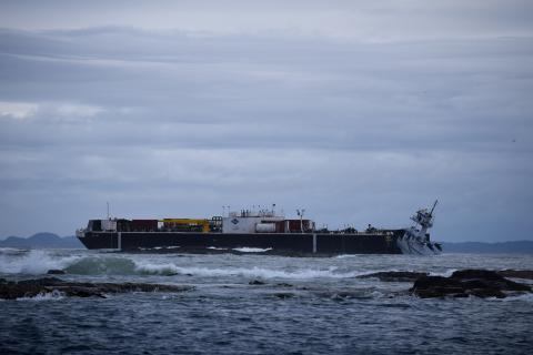 The articulated tugboat Nathan E. Stewart aground off B.C.'s north coast in October 2016