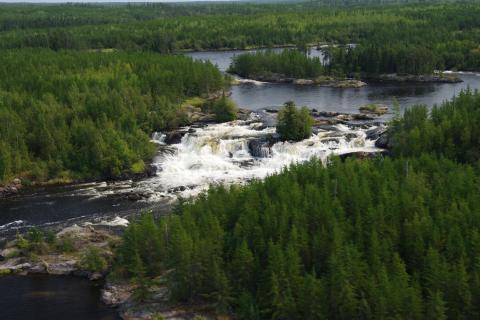 Shining Falls in the boreal forest