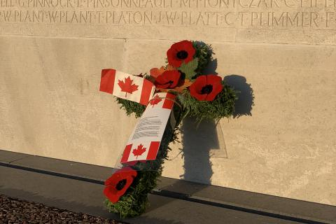 A tribute placed at the Vimy Memorial