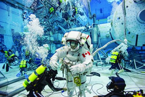 Canadian astronaut David Saint-Jacques in spacewalk training at NASA's Neutral Buoyancy Laboratory in Houston, Texas.