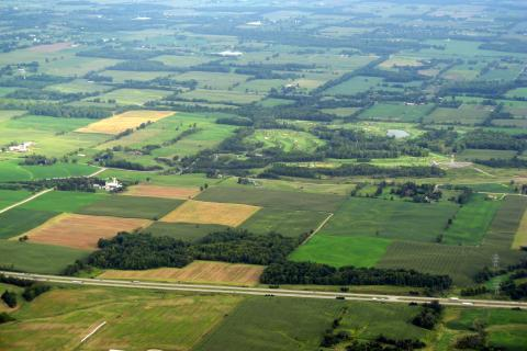 Aerial view of Ontario patchwork farmland