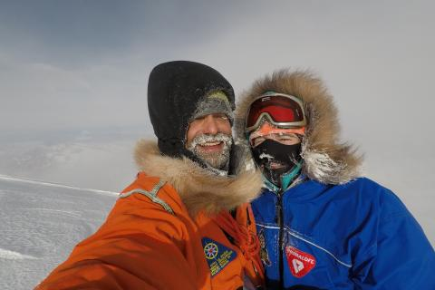 Mountaineers Lonnie Dupre, left, and Pascale Marceau on the summit of Mt. Wood in the Yukon